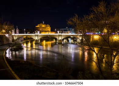 ROME - ITALY - FEBRUARY 04: Landscape of the Castel Sant'Angelo fortress and the Vittorio Emanuele II bridge over the Tiber river in February 04, 2018