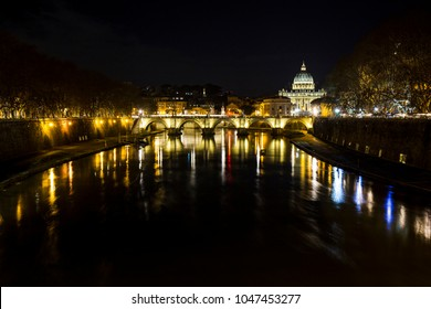 ROME - ITALY - FEBRUARY 04: Landscape of the Dome of St. Peter from the Tiber river in February 04, 2018
