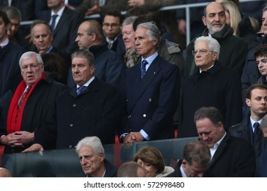 ROME, ITALY - FEBRUARY 05: Sergio Mattarella, President of Italy with Giovanni Malago at RBS  match between Italy and Wales at the Stadio Olimpico on February 5, 2017 in Rome, Italy.