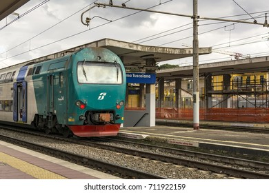 ROME, ITALY – FEBRUARY 1, 2017: Roma Tuscolana railway station, a major station serving the city and comune of Rome.