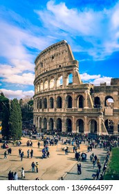 Rome Italy, February 10 2019-view of Colosseum, one of the most important sights of Rome.