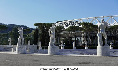 ROME, ITALY -  FEBRUARY 11, 2018: Marble statues of naked male athletes in the Fascist era Stadio Dei Marmi Foro Italico sports complex