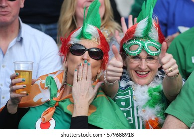 ROME, ITALY - FEBRUARY 11:Ireland supporters  in action during the  Six Nations tournament  RBS  match between Italy and Ireland at the Stadio Olimpico on February 11, 2017 in Rome, Italy.