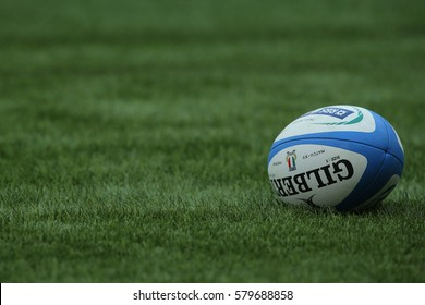 ROME, ITALY - FEBRUARY 11:Official ball of  Six Nations tournament  RBS  match between Italy and Ireland at the Stadio Olimpico on February 11, 2017 in Rome, Italy.
