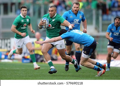 ROME, ITALY - FEBRUARY 11:Simon Zebo  in action during the  Six Nations tournament  RBS  match between Italy and Ireland at the Stadio Olimpico on February 11, 2017 in Rome, Italy.