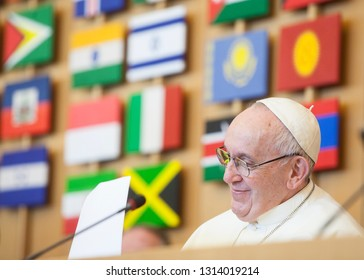 ROME, ITALY - FEBRUARY 14 : Pope Francis greets the pilgrims during his visit at FAO on February 14, 2019.