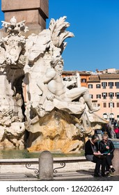 Rome, Italy, February 16 2017 - Fountain on famous Piazza Navona in Rome. Piazza Navona. Rome. Italy