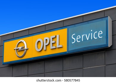 Rome, Italy - February 16, 2017: Opel sign at a local dealership. Opel is a German automobile manufacturer headquartered in Germany, subsidiary of the American group General Motors.