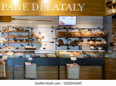 ROME, ITALY - FEBRUARY 17, 2019: The Eataly bakery which produces freshly-baked bread for the restaurants, counters, and market with selected freshly-milled flours, and a time-honored mother yeast.