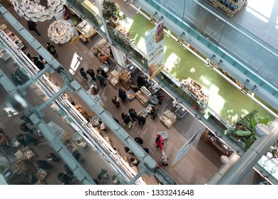 ROME, ITALY - FEBRUARY 17, 2019: Eataly in Rome Ostiense celebrates the Potato Feast. Eataly hosts a huge range of food and drink festivals over the year.