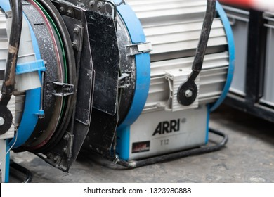 Rome, Italy - February 18, 2019: Arri spotlight. The Arri Fresnel series is ideal for portable applications where compact but robust, lightweight tungsten Fresnel spotlights are required