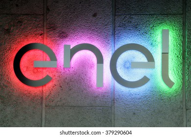 ROME, ITALY - FEBRUARY 20 2016: Enel S.p.A. new logo. Enel is an Italian multinational manufacturer and distributor of electricity and gas.  Enel originally stood for National Entity for Electricity.