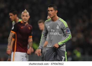ROME, ITALY - FEBRUARY 2016 :Crisitano Ronaldo in action during football match  of Uefa Champions League 2016 last-16 between A.s. Roma vs Real Madrid at the Olimpic Stadium on Februry 17, 2016 in Rome