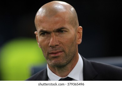 ROME, ITALY - FEBRUARY 2016 : Zinedine Zidane  during football match  of Uefa Champions League 2015/2016 last-16 between A.s. Roma  vs Real Madrid at the Olimpic Stadium  on Februry 17, 2016 in Rome.