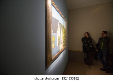 ROME ITALY FEBRUARY 2017: Edward Hopper Exhibition at the Vittoriano Complex's  traces his artistic evolution, on February 5, 2017 in Rome Italy