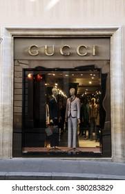 ROME, ITALY - FEBRUARY 21 2016: Gucci fashion store at Via dei Condotti in Rome, Italy. Shop window.