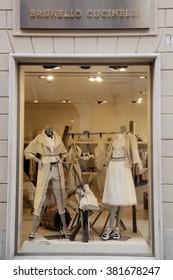 ROME, ITALY - FEBRUARY 21 2016: The window of Brunelli Cucinelli SpA store along Via Borgognona in Rome, Italy
