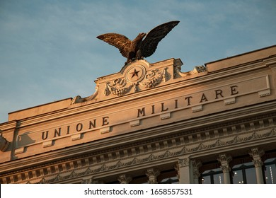 Rome, Italy - February 21, 2020:  Detail of the effigy with Eagle located on the facade of the palace of the former military union - Palazzo dell'Ex Unione Militare.