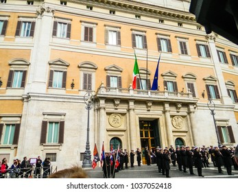 ROME, ITALY, FEBRUARY 23 2018: The Italian parliament of Montecitorio few days before the italian general elections