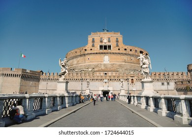 Rome, Italy - February 24, 2012: Castel Sant'Angelo. View from the bridge of Sant'Angelo in the center of rome, near the Tiber river