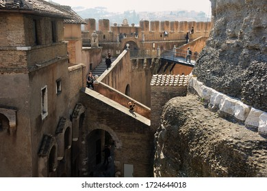 Rome, Italy - February 24, 2012: inside Castel Sant'Angelo in the morning sun. view of the inside of the protective walls