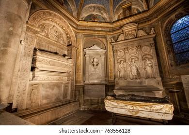 ROME, ITALY. February 24. 2015: Church of Santa Maria del Popolo in Piazza del Popolo in Rome, Italy. Tomb of the cardinals Cristoforo and Domenico della Rovere 1479. Artist sculptor Andrea Bregno.
