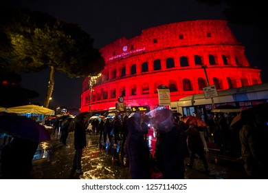 Rome, Italy February 24, 2018: A view of the Colosseum illuminated in red to draw attention to the persecution of Christians around the world, in Rome, Italy. February 24, 2018.