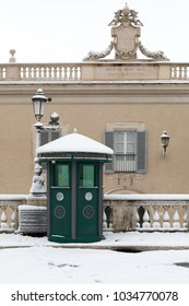 Rome, Italy - February 26, 2018: Snow comes in the capital, covering streets and monuments of a white white coat. In the photo, Piazza del Quirinale.