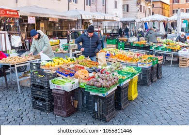 ROME, ITALY- February 27: City market of Trastevere on February 27, 2018 in Rome, Italy. Trastevere is the 13th rione of Rome, on the west bank of the Tiber, south of Vatican City