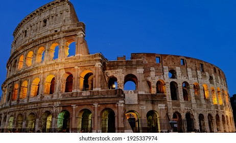 Rome, Italy - February 29 2019: Colosseum of Rome in the evening