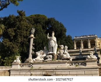Rome, Italy - February 4, 2018: Statues in the Fountain of Dea di Roma on the Piazza del Popolo in Roma, Italy
