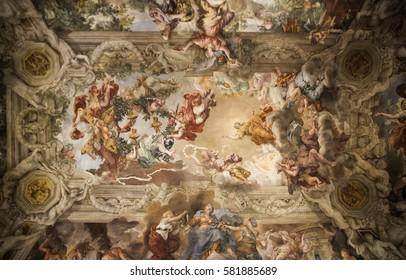 ROME, ITALY - FEBRUARY 5, 2017:the frescoed vault ceiling painted by Pietro da Cortona in the main salon of Palazzo Barberini