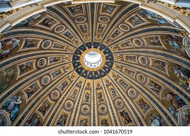ROME, ITALY - FEBRUARY 7, 2018: Inside view of the cupola of the Saint Peter's Basilica in Vatican.