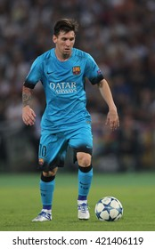 """ROME, ITALY - FEBRURY 2016 :Leonard Messi in action during football match  of Italian League """"Serie A"""" between A.s. Roma  vs Barcellona at the Olimpic Stadium  on Februry 7, 2016 in Rome."""