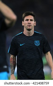 """ROME, ITALY - FEBRURY 2016 : Leonard Messi in action during football match  of Italian League """"Serie A"""" between A.s. Roma  vs Barcellona at the Olimpic Stadium  on Februry 7, 2016 in Rome."""