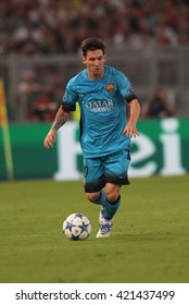 """ROME, ITALY - FEBRURY 2016 :Messi  in action during football match  of Italian League """"Serie A"""" between A.s. Roma  vs Barcellona at the Olimpic Stadium  on Februry 7, 2016 in Rome."""