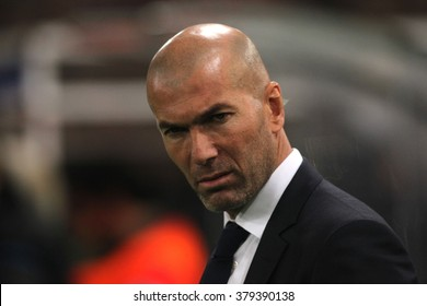 ROME, ITALY - FEBRURY 2016 : Zinedine Zidane  during football match  of Uefa Champions League 2015/2016 last-16 between A.s. Roma  vs Real Madrid at the Olimpic Stadium  on Februry 17, 2016 in Rome.