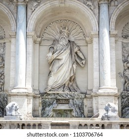 Rome, Italy, Fountain of the Moses (happy water fountain). Moses is depicted as indicating the water spring from the rock