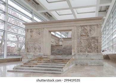 ROME, ITALY - JANUAR 25, 2015: Ara Pacis Augustae (Altar of Augustan Peace) in Rome