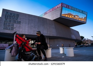 ROME, ITALY - JANUARY 06, 2019: National Museum of the XXI Century Arts, designed by Zaha Hadid and managed by the MAXXI foundation of the Ministry for Cultural Heritage.