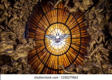 ROME, ITALY - January 06, 2019: Throne Bernini Holy Spirit Dove Saint Peter's Basilica Vatican Rome Italy