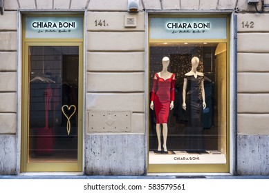 Rome, Italy - January 1, 2017: Chiara Boni shop located on Via Condotti  in Rome, Italy, one of the most exclusives streets in Europe