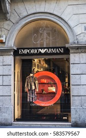 Rome, Italy - January 1, 2017: Emporio Armani shop located on Via Condotti  in Rome, Italy, one of the most exclusives streets in Europe