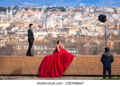 Rome, Italy - January 10, 2019: Young asian couple at wedding photo session in Rome, Italy