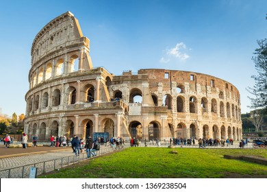 Rome, Italy - January 11, 2019: People at the Colosseum in Rome at sunny day, Italy
