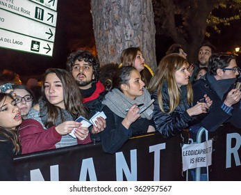 Rome, Italy - January 15, 2016: Fans Italian American actor Leonardo DiCaprio desperately await his arrival in Rome, the House of Cinema, hoping to snatch an autograph or a picture.