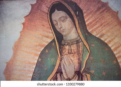 Rome Italy, January 16, 2015: A Paiting of Our Lady of Guadalupe