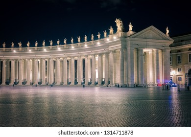 ROME, ITALY - January 16, 2019 No people at St. Peter Square in Vatican city at winter night.