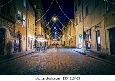 ROME, ITALY - January 16, 2019 No pople around Catalone square and Borgo Pio street in Rome near Vatican city at winter night, long exposure shot.