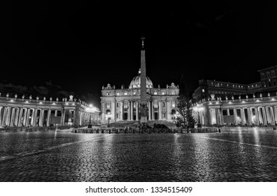 ROME, ITALY - January 16, 2019 Basilica at St. Peter Square with no people in Vatican city at night.